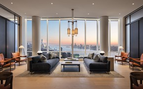 Picture design, style, interior, Tower, megapolis, living room, 15 Hudson Yards