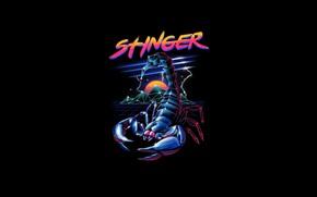 Picture Minimalism, Style, Background, Scorpio, Art, Art, Style, Neon, Scorpion, Background, Illustration, Sting, Minimalism, Stinger, Synth, …