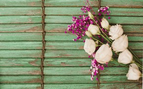 Picture flowers, background, roses, bouquet, wood, pink, flowers, roses, eustoma, eustoma