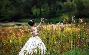 Picture girl, nature, pose, dress, hairstyle, Alexander Aksenteva