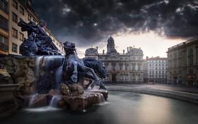 Wallpaper France, area, fountain, Lyon