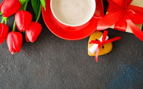 Picture love, flowers, gift, bouquet, hearts, tulips, red, red, love, flowers, romantic, hearts, tulips, coffee cup, ...