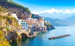 Picture sea, mountains, bridge, home, Italy, Amalfi