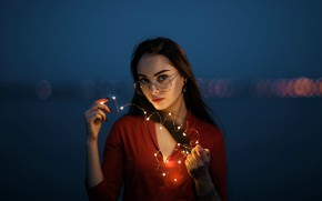 Picture look, night, lights, pose, glare, background, model, portrait, makeup, glasses, hairstyle, brown hair, beauty, garland, …