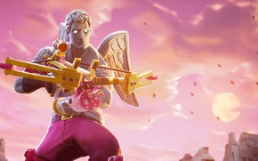 Picture weapons, pink background, character, Fortnite