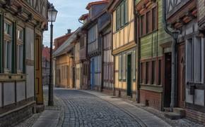 Picture road, street, home, pavers, Germany, lantern, Germany, Saxony-Anhalt, Saxony-Anhalt, Wernigerode, Wernigerode, Cook street