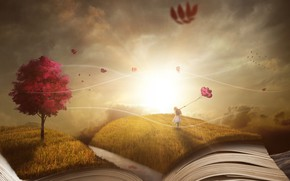 Picture autumn, the sky, grass, leaves, the sun, balls, light, balloons, rendering, fantasy, tree, girl, book, …