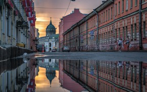 Picture the city, reflection, street, building, home, Peter, puddle, Saint Petersburg, Kazan Cathedral, the dome