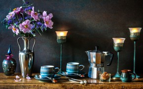 Picture flowers, style, candles, Cup, vase, mugs, still life, anemones, candlesticks, coffee pot