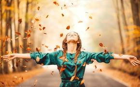 Picture autumn, leaves, girl, pose, mood, hands, dress, braids, Anton Rostov