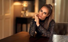 Picture look, pose, room, model, portrait, makeup, hairstyle, brown hair, beauty, sitting, in black, bokeh, Maarten …