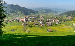 Picture Nature, Home, Mountains, The city, Switzerland, Landscape