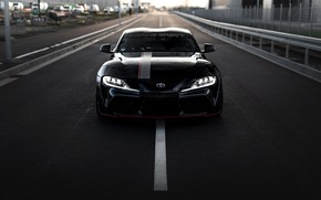 Picture road, asphalt, markup, black, street, coupe, Toyota, front view, Supra, the fifth generation, mk5, Manhart, …