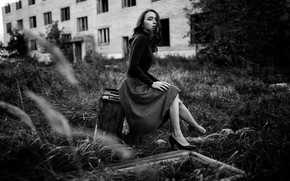 Picture grass, look, pose, house, model, skirt, portrait, makeup, hairstyle, shoes, black and white, blouse, legs, …