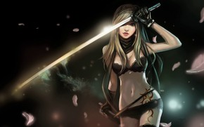 Picture Girl, Art, Smoke, Weapon, Tattoo, Katana