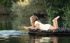 Picture summer, grass, water, nature, river, the game, dress, girl, child, mostok, Irina Zuboreva