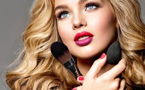 Picture look, portrait, hands, makeup, lipstick, blonde, model, brush, makeup