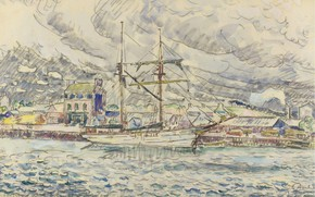 Picture figure, ship, watercolor, 1929, Paul Signac, Paul Signac, The Port Of Paimpol. Brittany
