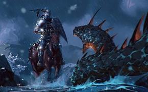 Picture Figure, Monster, Rain, Battle, Warrior, Fantasy, Snakes, Art, Knight, Fiction, The shower, Omar Bronze, by …