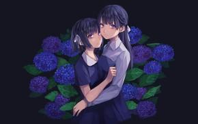 Picture flowers, girls, hydrangea, Fate stay night, Fate / Stay Night, Sakura Matou