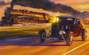Picture the sun, smoke, train, speed, picture, car