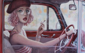 Picture auto, girl, mirror, the wheel, glasses, cigarette, freckles, smokes, takes, art, pink hair, wrist watch, …