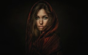 Picture look, girl, portrait, scarf, shawl, Oksana, Lashon Rise, Oksana