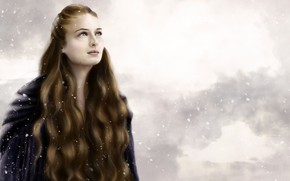 Picture winter, girl, snow, long hair