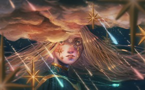 Picture girl, stars, clouds, drops, night