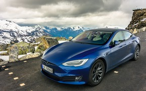 Picture road, mountains, Tesla, Model S