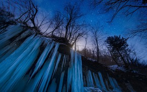 Picture Japan, trees, nature, night, winter, snow, stars, waterfall, frozen water