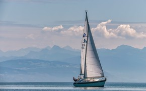 Picture mountains, lake, yacht, Switzerland, Alps, Lake Geneva