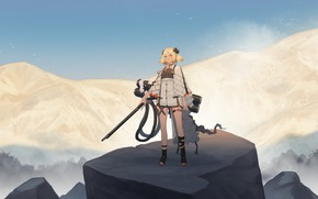 Picture the sky, girl, mountains, birds, weapons, horns