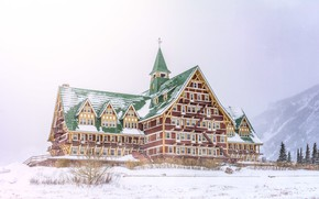 Picture winter, forest, snow, mountains, the building, House, the hotel, the hotel