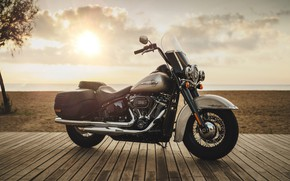 Picture sand, beach, the sun, clouds, sunset, Motorcycle, Harley, Harley Davidson, bike, bike