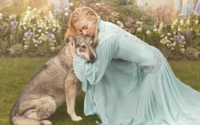 Picture look, girl, pose, dog, dress, Sophie Turner