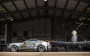 Picture Ford, Profile, Hangar, 2018, Supermarine Spitfire, RAF, Royal air force, Mustang GT, Eagle Squadron