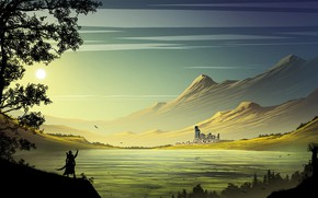 Wallpaper the sun, mountains, castle, warrior, pond