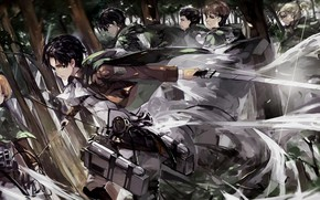 Picture forest, art, soldiers, the invasion of the giants, attack of the titans, Shingeki no Kyojin, …