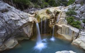 Picture rock, lake, waterfall