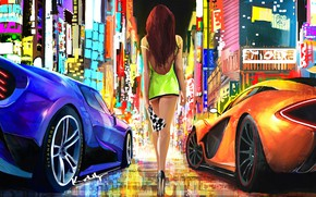 Picture city, lights, girl, fantasy, supercar, digital art, artwork, fantasy art, high heels, McLaren P1, minidress, …