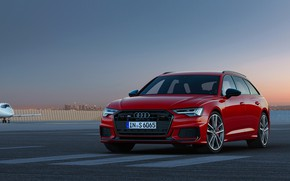 Picture red, Audi, the airfield, universal, 2019, A6 Avant, S6 Before