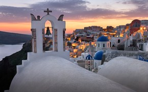Picture sea, landscape, sunset, the city, island, home, Santorini, Greece, dome, the bell tower, Thira, Ia