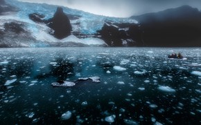 Picture cold, ice, winter, sea, snow, mountains, fog, people, rocks, boat, ice, glacier, haze, ice, North, …