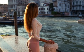 Wallpaper ass, water, girl, the city, hair, Venice, Eleonora, Marco Squassina