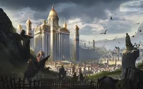 Picture birds, the city, building, travelers, pilgrim