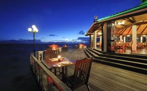 Picture the ocean, the evening, lighting, restaurant, The Maldives, resort, Maldives, area, Ari Atol