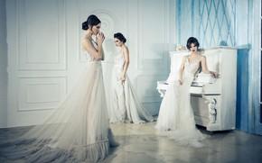 Picture girls, interior, dress, piano, the bride, fashion