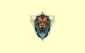 Picture Minimalism, Tiger, Style, Background, Face, Art, Art, Tiger, Style, Background, Minimalism, by Sugiartoss, Sugiartoss