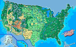 Picture Map, Style, USA, USA, United States, Pixels, 8bit, Pixel, 16bit, Pixel, Map, Illustration, United States …